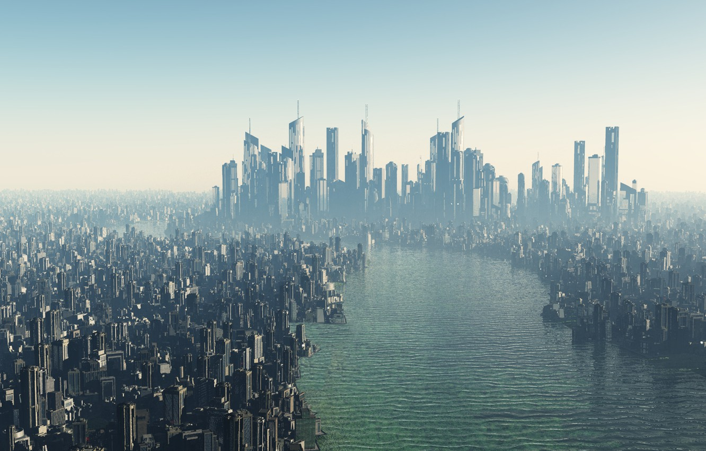 Фото обои город, будущее, река, небоскребы, мегаполис, футуристичность