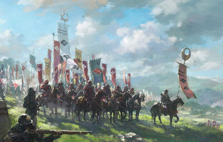 Фото обои облака, япония, армия, доспехи, флаги, всадники, пики, самураи