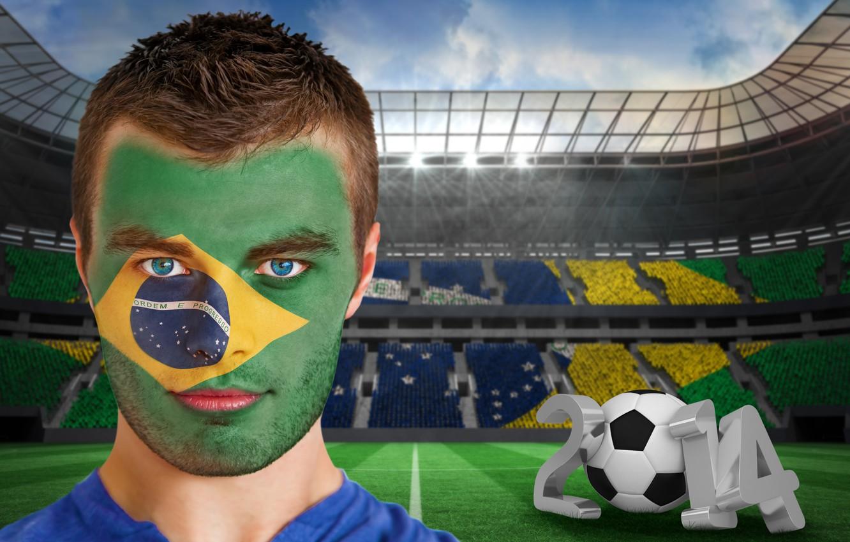 Фото обои football, face, flag, World Cup, Brasil, FIFA, 2014