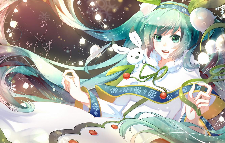 Фото обои зима, девушка, радость, цветы, заяц, аниме, арт, vocaloid, ландыши, yuki miku, phino, jinko0094