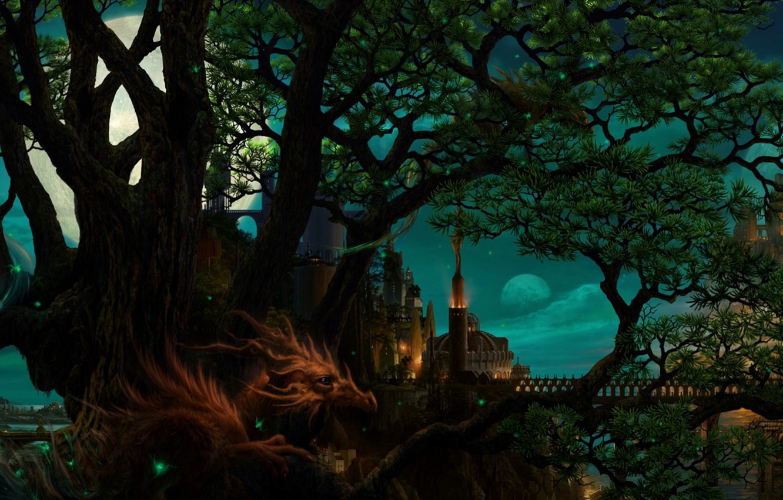 Фото обои деревья, мост, замок, дракон, башня, Луна, рога, страж