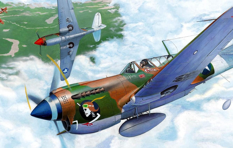 Обои американский, p-40, warhawk, kittyhawk, tomahawk, curtiss, Самолёт. Авиация foto 13