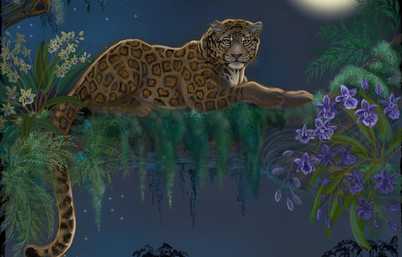 Обои Вода, леопард, дерево, цветы. Разное foto 7