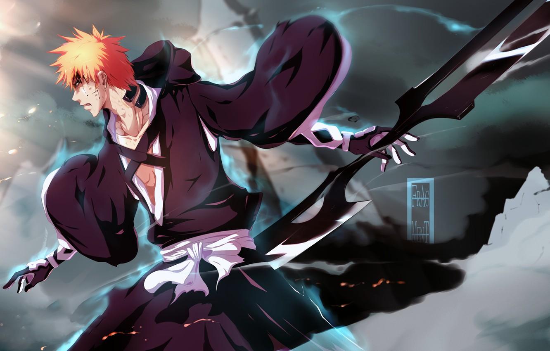 Фото обои оружие, магия, кровь, дым, парень, Bleach, Блич, kurosaki ichigo, art, раны, IFrAgMenTIx