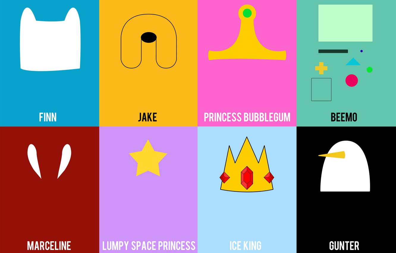 Фото обои Jake, Adventure Time, Finn, Marceline, Gunter, Ice King, Lumpy Space Princess, Princess Bubblegum, Beemo