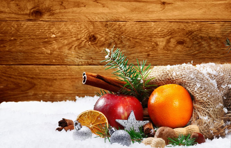 Фото обои снег, оранжевый, праздник, яблоко, Новый Год, Рождество, balls