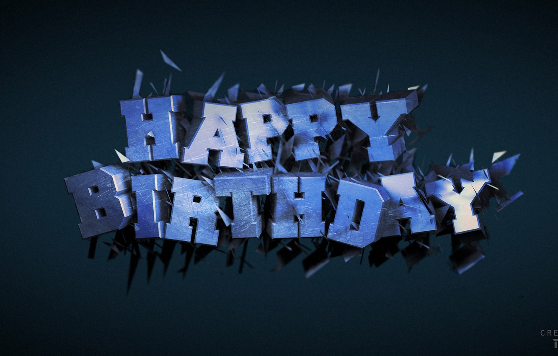 Фото обои текст, день рождения, cinema 4d, render, рендер, открытка, B-day, birth day