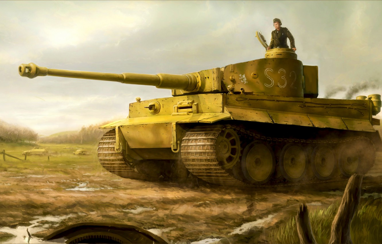 Фото обои war, art, painting, ww2, Tiger tank