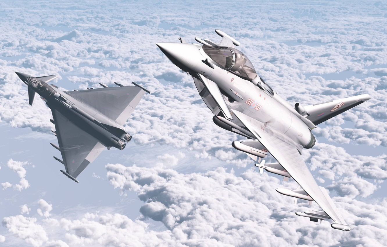Фото обои Облака, Самолеты, Авиация, Истребители, Typhoon, Eurofighter, Два, 3D Графика