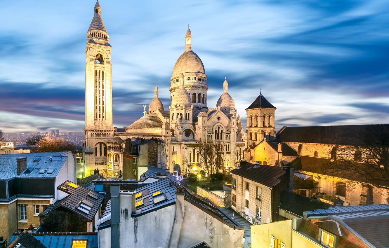Фото обои огни, Франция, Париж, дома, вечер, крыши, храм, Montmartre