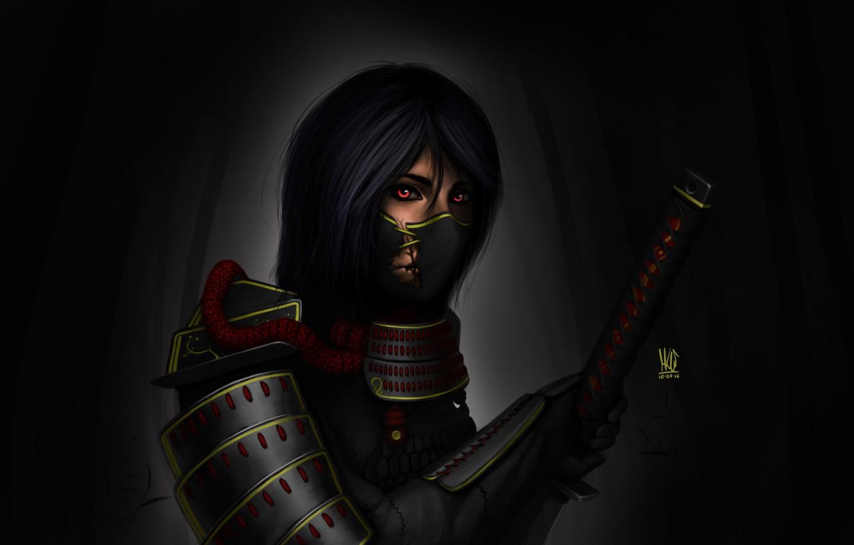 Фото обои девушка, темный фон, меч, катана, арт, самурай, повязка, броня, рукоядка