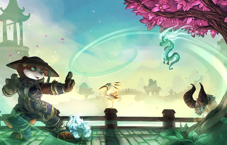 Фото обои World of Warcraft, wow, art, dragon, panda, Forest, World of Warcraft: Mists of Pandaria