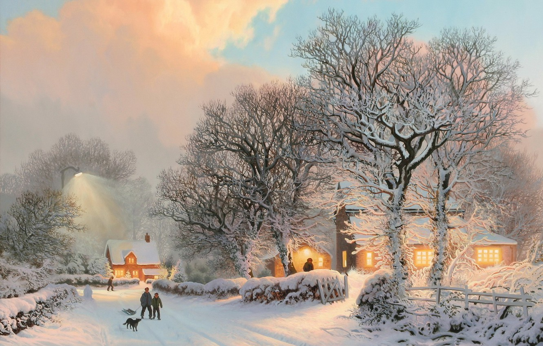 Фото обои закат, Зима, деревня