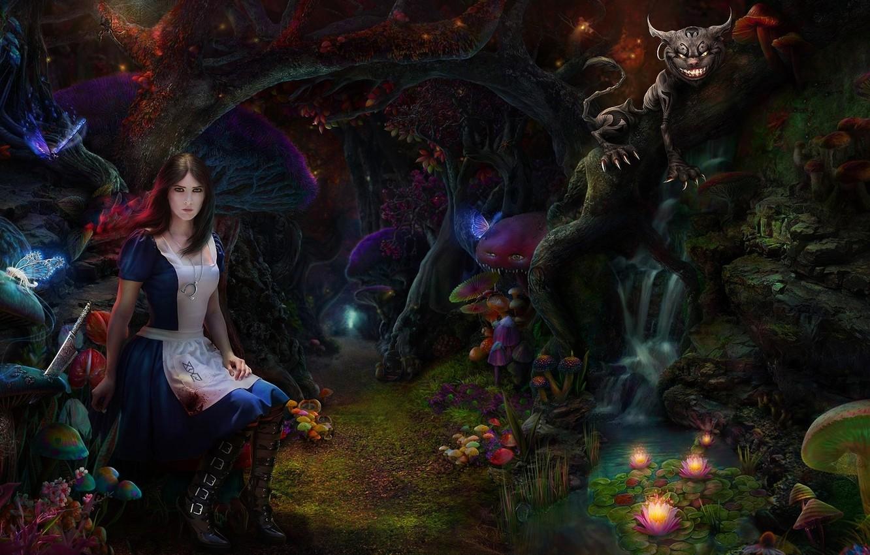 Фото обои лес, кот, девушка, грибы, чаща, арт, Alice Madness Returns, чеширский