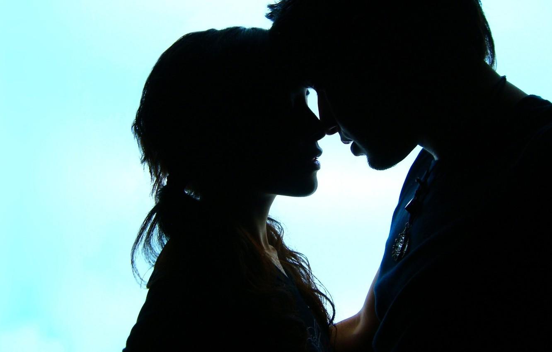Фото обои небо, девушка, любовь, фон, обои, настроения, силуэт, пара, мужчина, love, парень