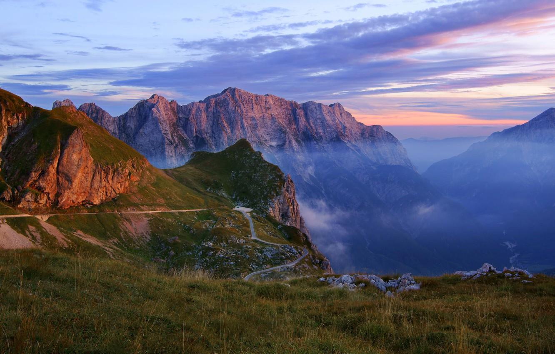 Фото обои пейзаж, горы, природа, дымка, ущелье