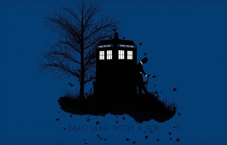 Фото обои осень, трава, листья, фон, дерево, шляпа, силуэт, трость, будка, Doctor Who, цилиндр, Доктор Кто, ТАРДИС, ...