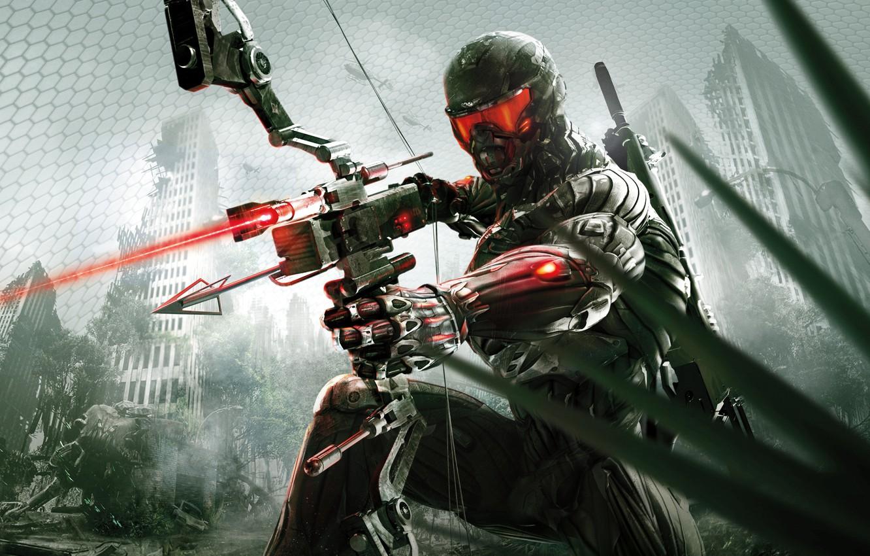 Фото обои город, апокалипсис, лук, джунгли, стрела, нанокостюм, Crytek, Crysis 3
