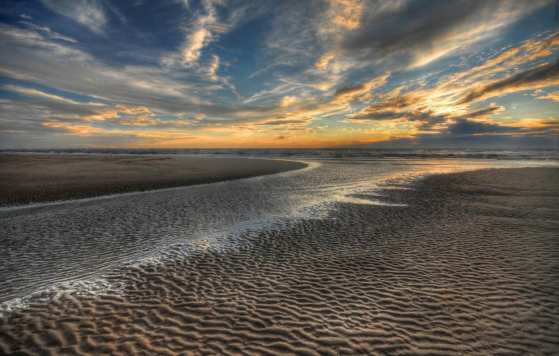 Фото обои песок, море, пляж, небо, солнце, пейзаж, закат, природа, океан, рассвет, beach, sky, sea, ocean, landscape, …