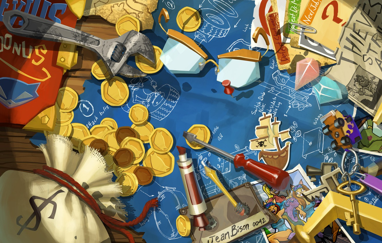 Фото обои фото, деньги, схема, ключ, арт, кристаллы, монеты, ключи, отвертка, Thieves in Time, Sly Cooper, гаечный