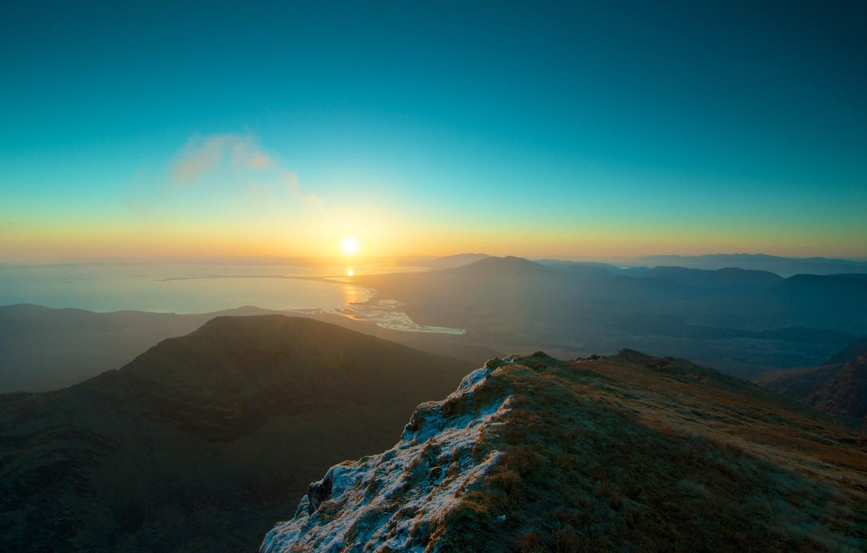 Фото обои Закат, Солнце, Небо, Вода, Океан, Горы, Трава, Снег, Горизонт