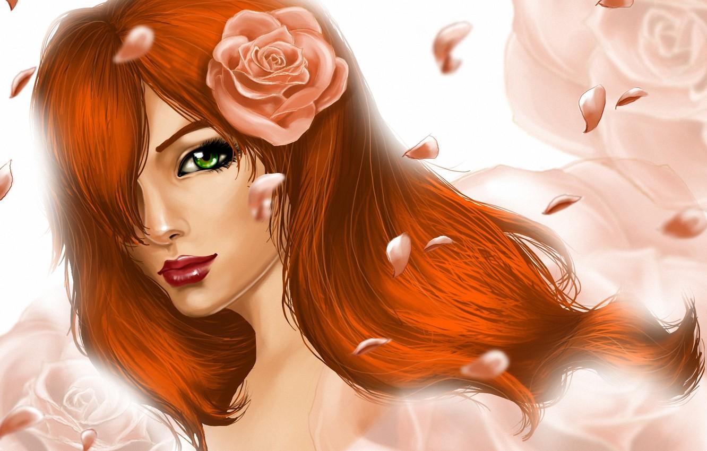 Фото обои девушка, цветы, розы, лепестки, арт, рыжая