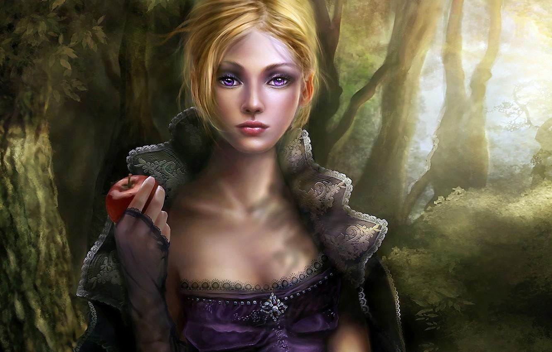 Фото обои лес, глаза, листья, девушка, лучи, деревья, лицо, красное, яблоко, платье, блондинка