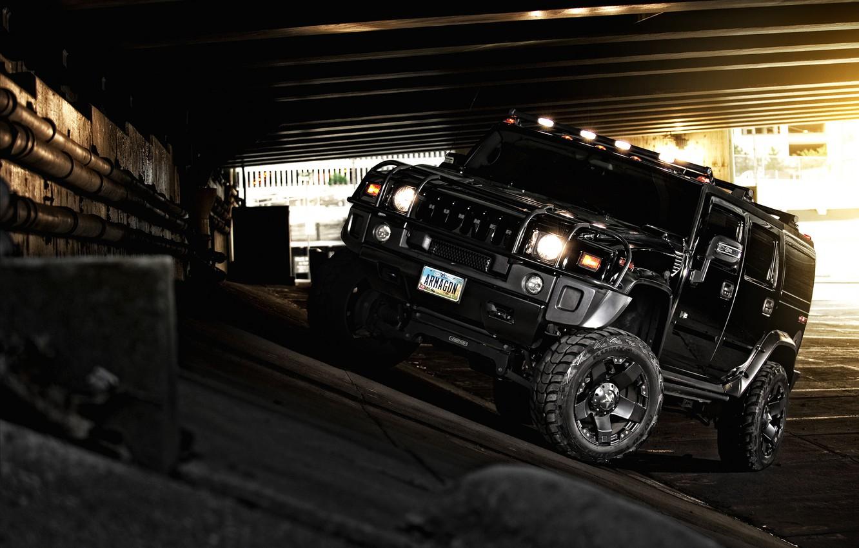 Фото обои чёрный, хаммер, внедорожник, black, off road, Hummer