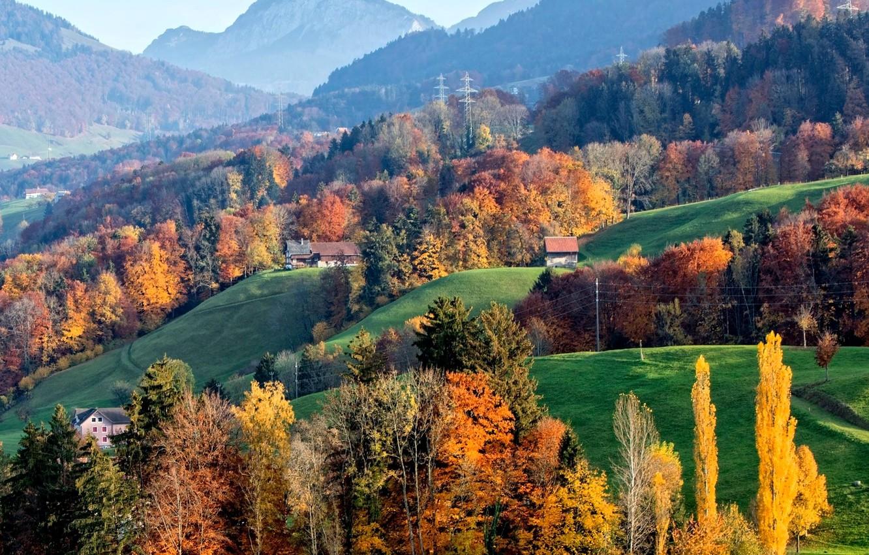 Обои Облака, hasliberg, швейцария, осень. Пейзажи foto 10
