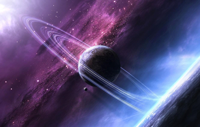 Фото обои космос, звезды, свет, сияние, планеты