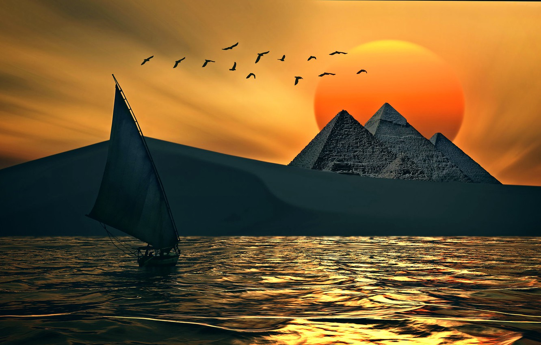 Фото обои солнце, птицы, парусник, пирамиды, digital art work, PYRAMIDS MAGIC