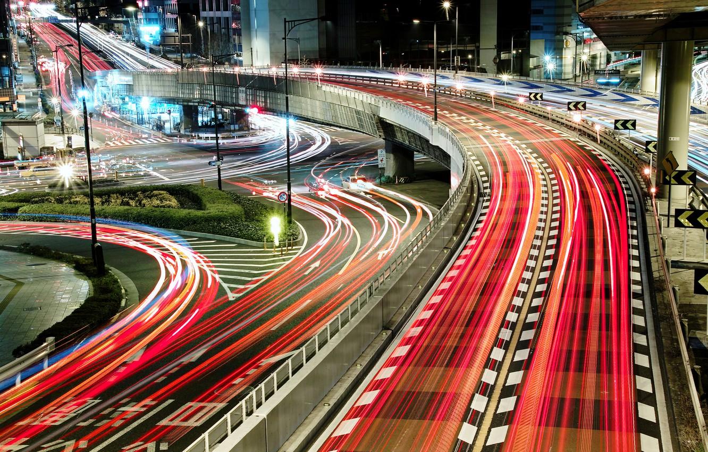 Фото обои свет, ночь, мост, город, огни, япония, дороги, выдержка, нити, розвилки
