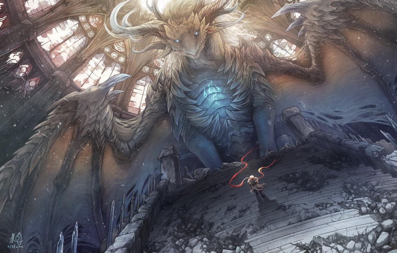 Фото обои дракон, крылья, шарф, воин, арт, ступеньки, мужчина, cporing