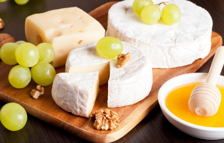 Фото обои сыр, мед, виноград, орехи, Honey, Grapes, Cheese, Nuts