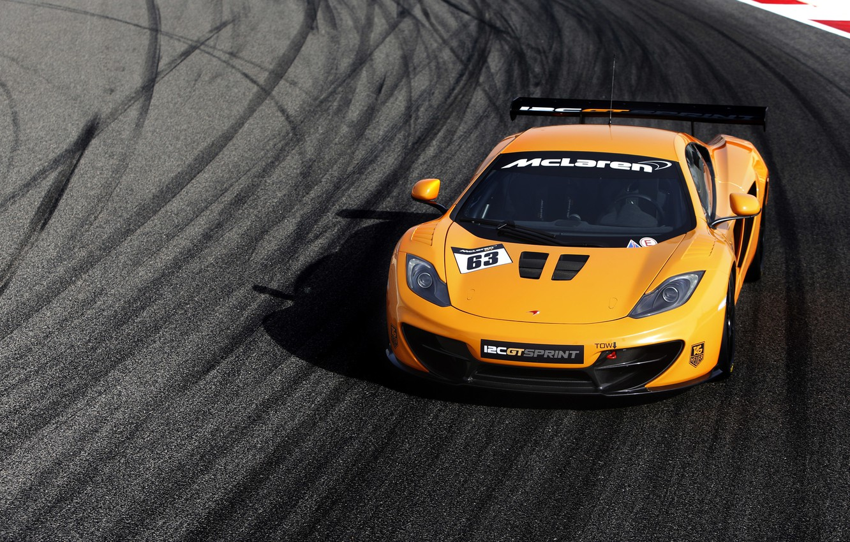 Фото обои машина, McLaren, вид спереди, MP4-12C, макларен, Sprint