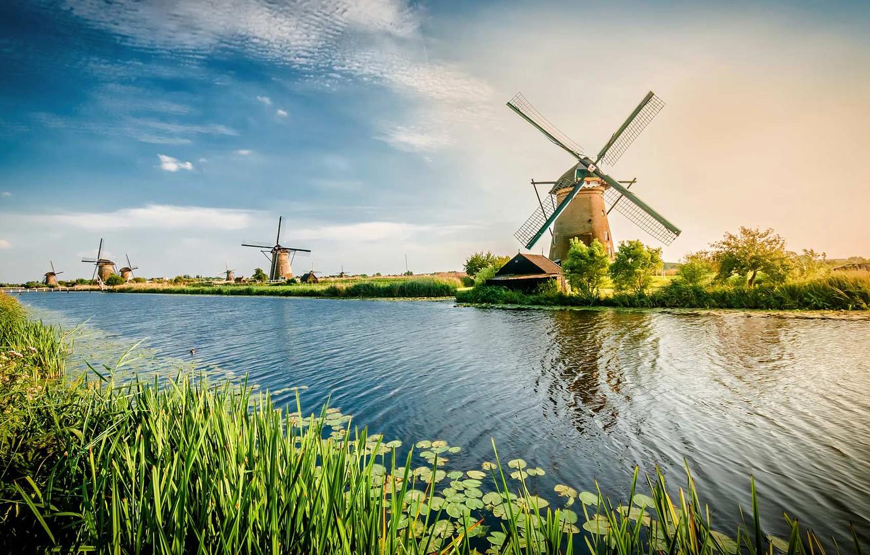 Фото обои канал, Нидерланды, ветряная мельница, Роттердам