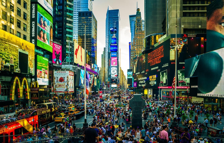 Фото обои город, движение, люди, улица, здание, мегаполис, суета