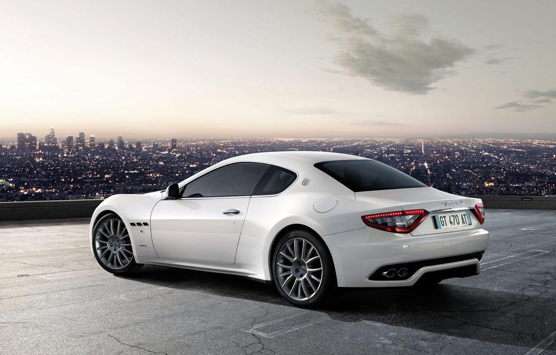 Фото обои белый, Maserati, GranTurismo-S