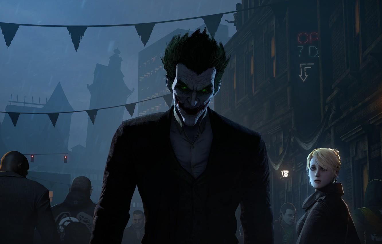 Фото обои город, улица, толпа, фонарь, joker, fan art, Batman: Arkham Origins