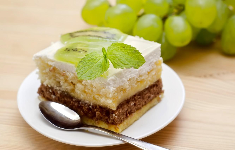 Фото обои киви, виноград, торт, пирожное, мята, десерт, выпечка, тортик, сладкое, кусочек