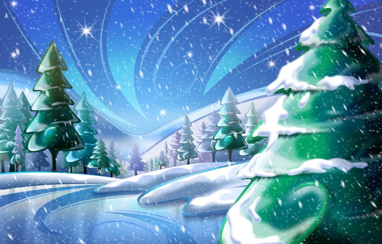 Фото обои снег, рисунок, елка, новый год
