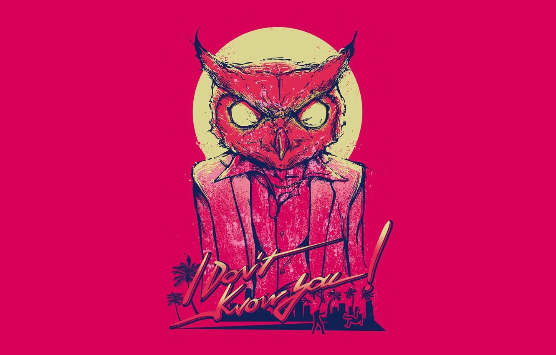 Фото обои минимализм, mask, owl, Hotline Miami, Rasmus