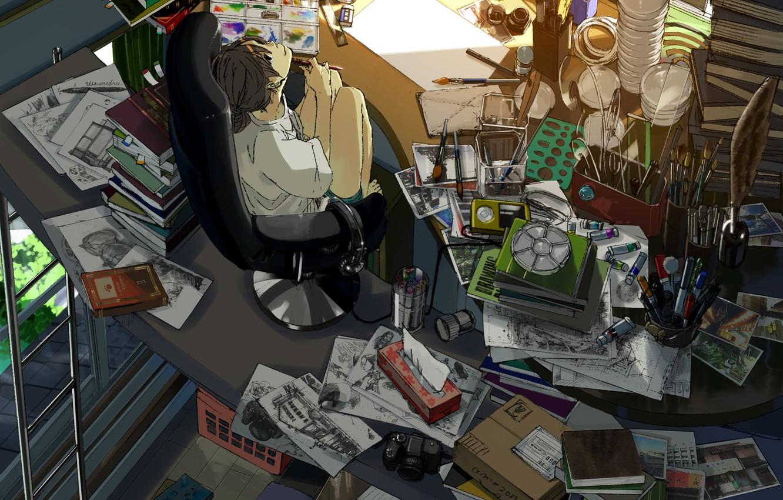 Фото обои кот, девушка, улыбка, комната, краски, книги, аниме, наушники, плеер, фотоаппарат, рисунки, art