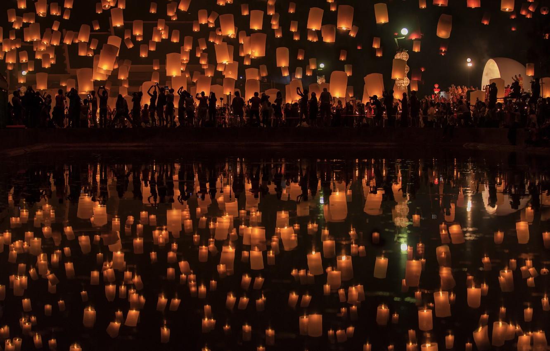 Фото обои фон, праздник, светильники