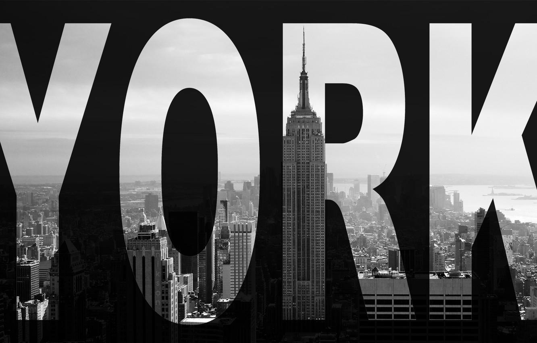 Фото обои город, небоскреб, Нью-Йорк, черно-белое