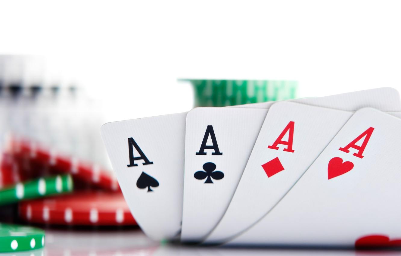 Фото обои карты, фишки, покер, тузы