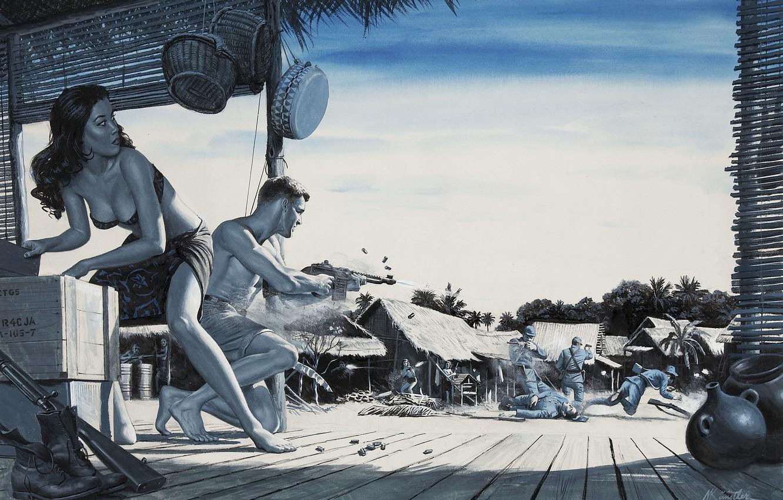 Фото обои пальмы, война, япония, бой, автомат, хижина, азиатка, ящик, box, japan, стычка, war, синий фон, shoot, …