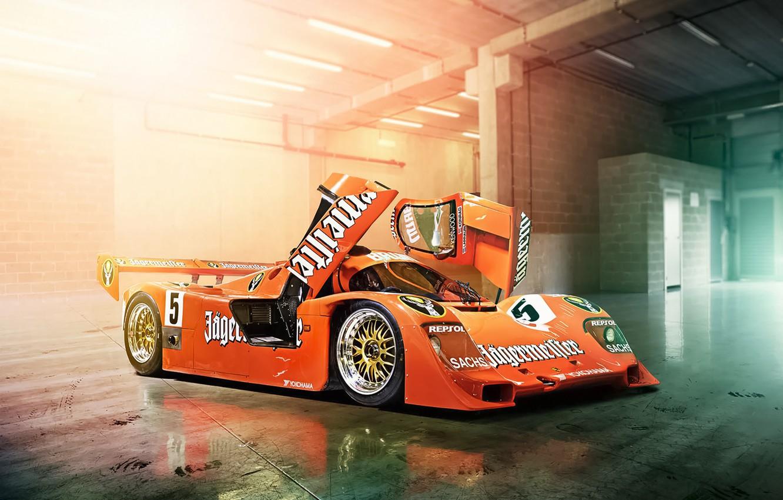 Фото обои Le Mans, Porsche, Orange, Cars, Day, Track, 956