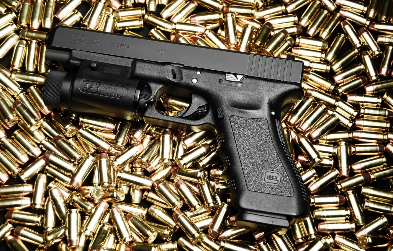 Фото обои пистолет, патроны, Glock 35