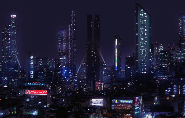 Фото обои будущее, ночной город, Cyberpunk, Jonathan Lucero, Scemestry City